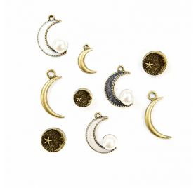 9 Embellissements en métal 'Prima - Moon Child' Lune