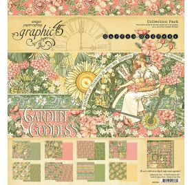Assortiment de 16 papiers doubles et 1 planche d'autocollants 30x30 'Graphic 45 - Garden Goddess'