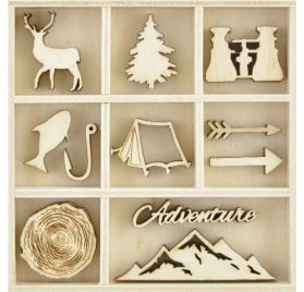 45 Embellissements en bois 'Kaisercraft- mountain Air '
