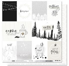 Papier double 30x30 'Les Ateliers de Karine - Carte Blanche' Let It Snow