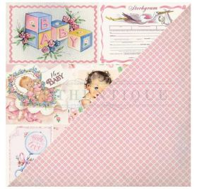 Papier double 30x30 'Authentique - Swaddle Girl' Seven