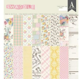 Assortiment de 16 papiers doubles 30x30 et 1 planche de die-cuts 'Authentique - Swaddle Girl'