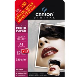 20 Papiers Photo 21x29.7 cm + 10 offerts 'Canson' Brillant 240 gr/m²