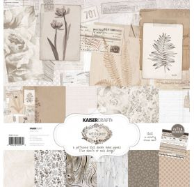 Assortiment  de 12 papiers doubles et 1 planche d'autocollants 30x30 'Kaisercraft - Whisper'