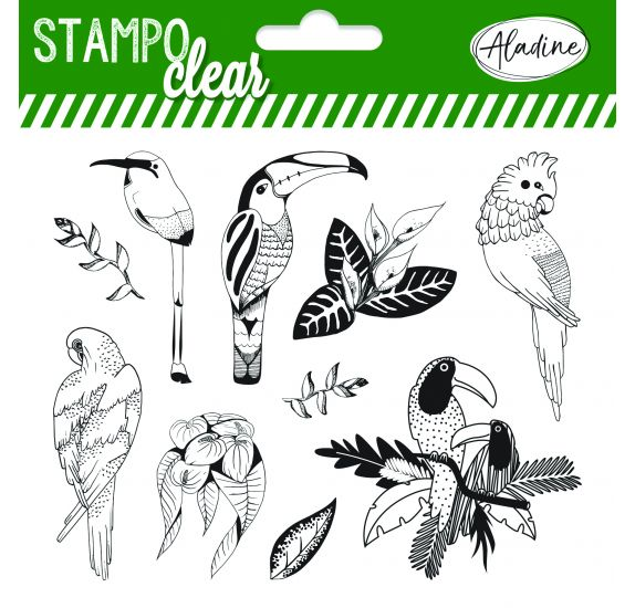 10 Tampons transparents 'Aladine - Stampo Clear' Oiseaux tropicaux