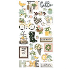 27 Chipboards  autocollants 'Simple Stories - Spring Farmhouse'