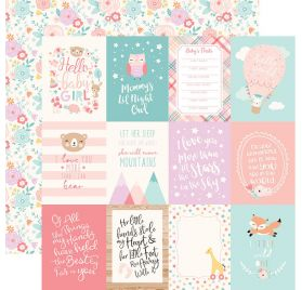 Papier double 30x30 ' Echo Park Paper - Hello Baby It's a girl' 3x4 Journaling Cards