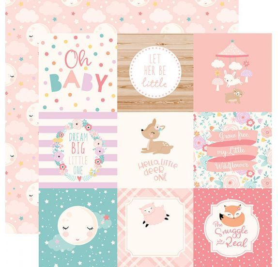 Papier double 30x30 ' Echo Park Paper - Hello Baby It's a girl' 4x4 Journaling Cards
