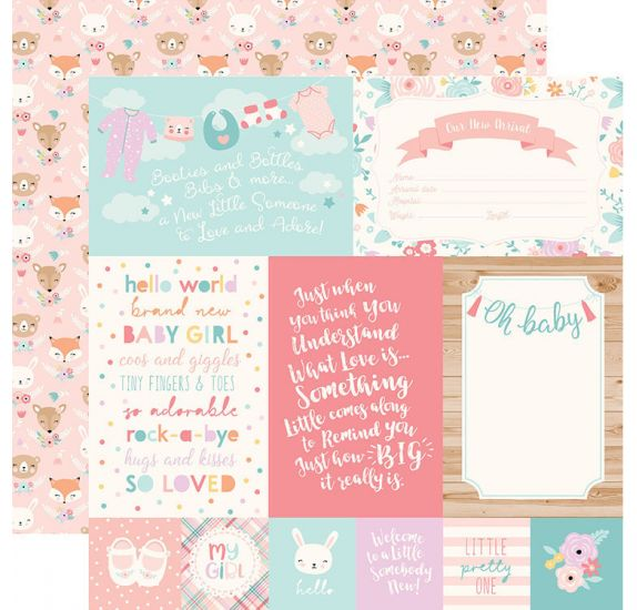 Papier double 30x30 ' Echo Park Paper - Hello Baby It's a girl' 4x6 Journaling Cards