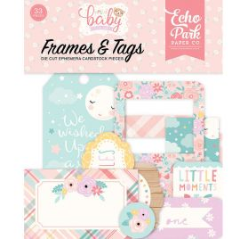 33 Die-cuts 'Echo Park Paper - Hello Baby It's a girl' Cadres et Tags