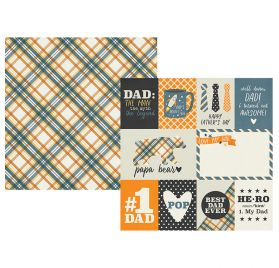 Papier double 30x30 'Simple Stories - Dad Life' 3x4 et 4x6 Elements
