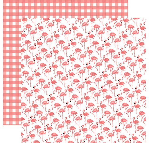 Papier double 30x30 ' Echo Park Paper - Best Summer Ever' Flamingos