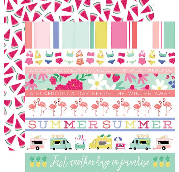 Papier double 30x30 ' Echo Park Paper - Best Summer Ever' Border Strips