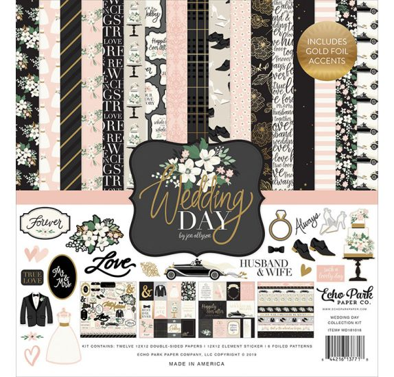 Assortiment de 12 papiers doubles et 1 planche d'autocollants 'Echo Park Paper - Wedding Day'