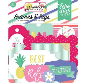 33 Die-cuts 'Echo Park Paper - Best Summer Ever' Cadres et Tags