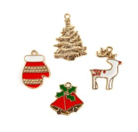 Lot de 4 Breloques en métal 'Prima - Christmas in the Country'