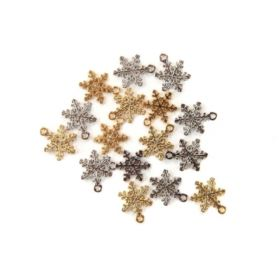 Lot de 16 Breloques en métal 'Prima - Christmas in the Country' Flocons de neige