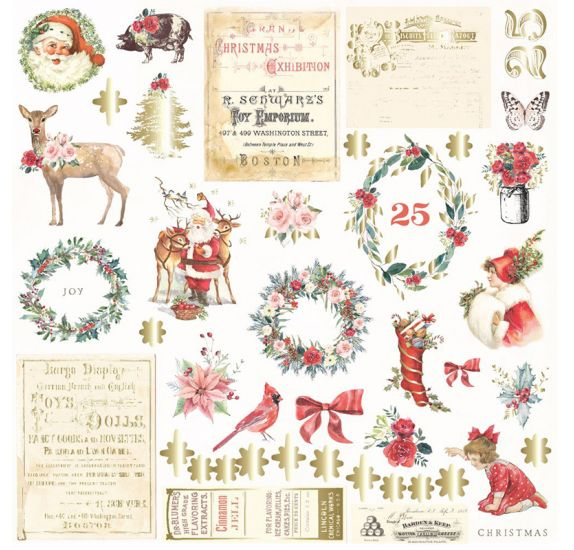 42 Die-cuts 'Prima - Christmas in the Country' Ephemera