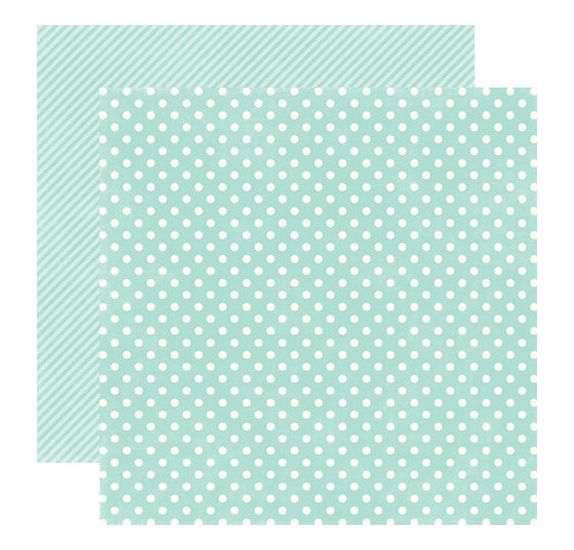 Papier double 30x30 - Echo Park Paper - Robin's egg Small Dots
