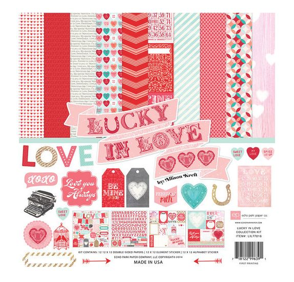 Assortiment 30x30 'Echo Park Paper' Lucky In Love