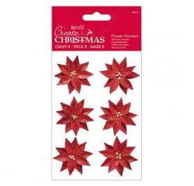 6 Fleurs en papier 'Docrafts - Create Christmas' Poinsettias rouges