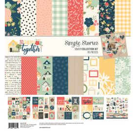 Assortiment de 12 papiers doubles 30x30 et 1 planche d'autocollants 30x30 'Simple Stories - So Happy Together'