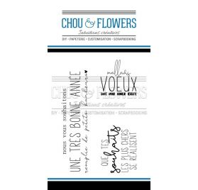 Tampons transparents 'Chou & Flowers - Holly Jolly' Mes Voeux