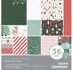 Assortiment  de 36 papiers décorés 15x15 'Kaisercraft - Peppermint Kisses'