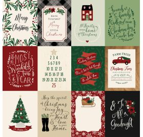 Papier double 30x30 ' Echo Park Paper - A Cozy Christmas' 3x4 Journaling Cards