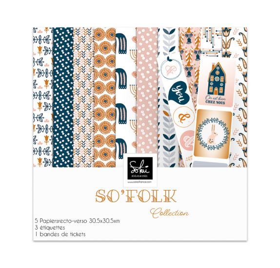 Assortiment de 5 papiers doubles 30x30 et d'étiquettes  'Sokai - SO' Folk'