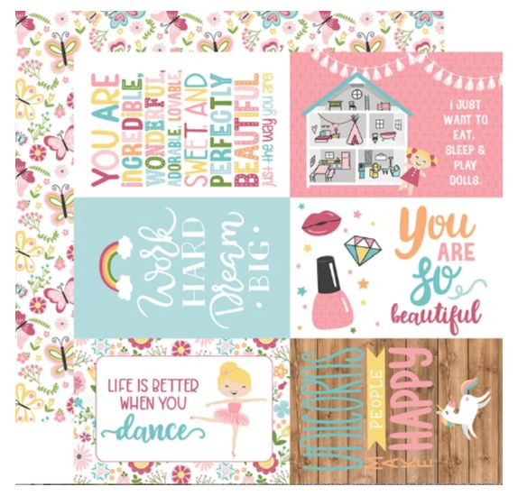Papier double 30x30 ' Echo Park Paper - All Girl' 4x6 Journaling Cards