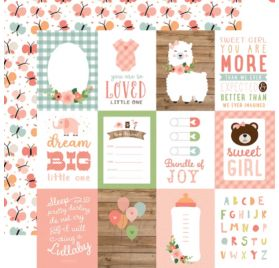 Papier double 30x30 ' Echo Park Paper - Baby Girl' 3x4 Journaling Cards