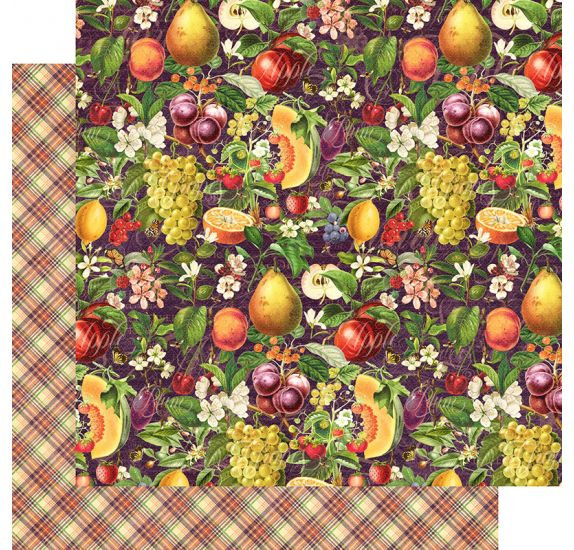 Papier double 30x30 'Graphic 45 - Fruit & Flora' Abundant Harvest