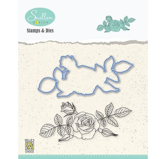 Combo Die / Tampon transparent 'Nellie's Choice' Rose