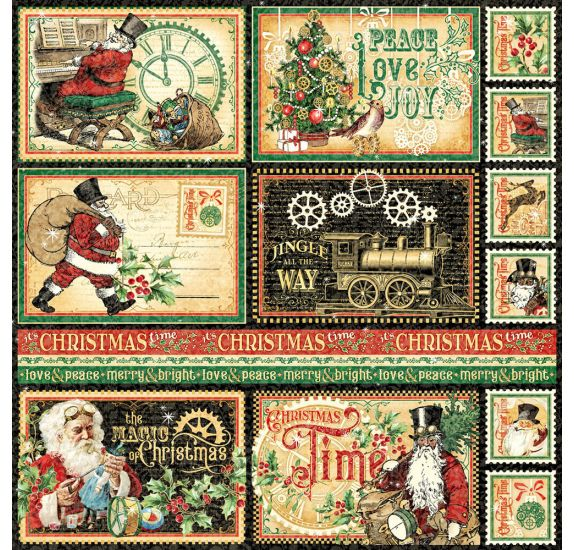 Papier double 30x30 'Graphic 45 - Christmas Time' North Pole Express