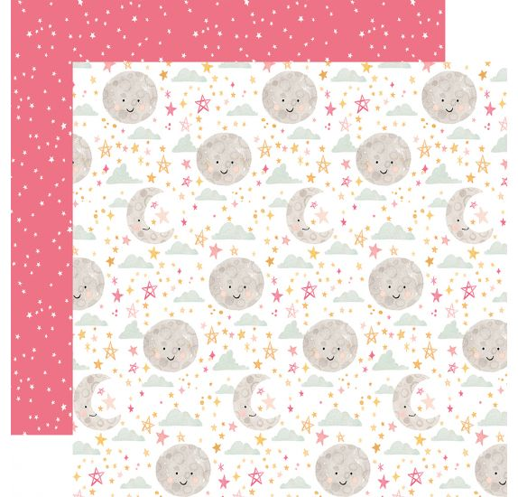Papier double 30x30 ' Echo Park Paper - Welcome Baby Girl' Moon and Stars