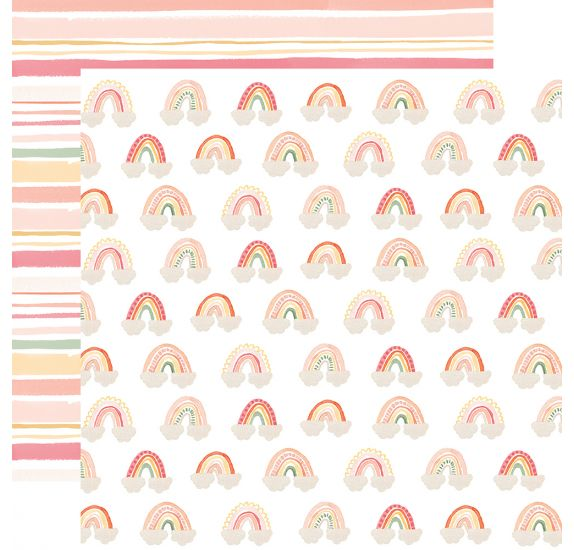 Papier double 30x30 ' Echo Park Paper - Welcome Baby Girl' Rainbows