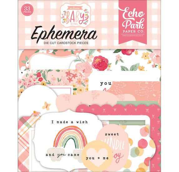 33 Die-cuts 'Echo Park Paper - Welcome Baby Girl' Ephemera