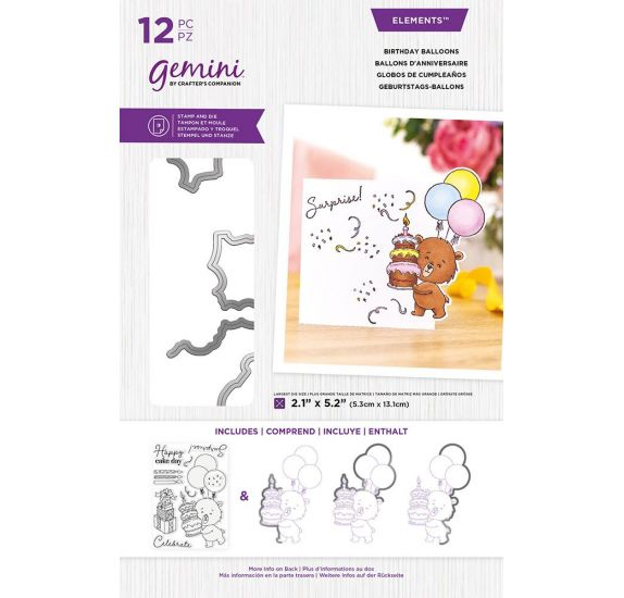 Combo Dies / Tampons transparents 'Crafter's Companion - Gemini' Ballons d'anniversaire