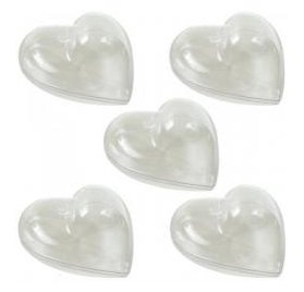 Lot de 5 boules plastique - PW International - Coeur 6 cm