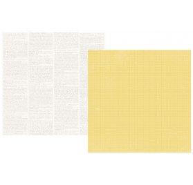 Papier double 30x30 - Simple Stories - Yellow Grid/Dictionary